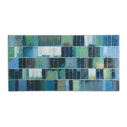Uttermost - Billy Moon Glass Tiles Contemporary / Modern Wall Art / Wall Decor X-00343 - Vibrant blues and greens are used in creating this hand painted artwork on canvas. The high gloss and glitter finish make this a mesmerizing piece of art. The canvas is stretched and applied to wooden stretching bars. Due to the handcrafted nature of this artwork, each piece may have subtle differences.
