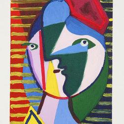 Pablo Picasso Estate Collection Visage de Femme sur Fond Raye Hand Signed - PABLO PICASSO ESTATE COLLECTION