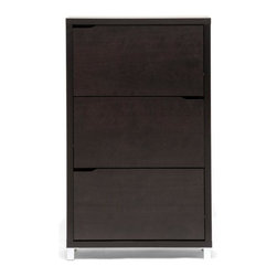 Wholesale Interiors - Modern Simms Shoe Cabinet - Stash your shoes stylishly in our Simms shoe cabinet. This modern shoe storage solution was designed with a low profile, svelte size as to fit neatly against a wall in a hallway, mud room or entryway.