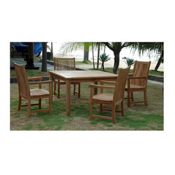 Anderson Teak - Windsor Unfinished 47 in. Square Table & 4 Chicago Armchairs - Includes 4 armchairs and square table. Seat is very sturdy as well as the back. Table can be used with any mix and match chairs. Teak wood construction. Minimal assembly required. Table: 47 in. L x 47 in. W x 29 in. H (31 lbs.). Chair: 22 in. W x 19 in. D x 40 in. H (20 lbs.)