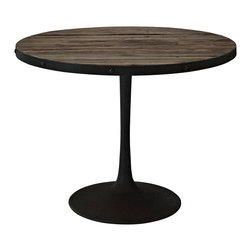 LexMod - Drive Wood Top Dining Table in Brown - Deliberately implement down-to-earth aesthetics with the Drive industrial modern dining table. Fashioned on a cast iron pedestal base, the round pine top is braced in a rim of iron to connote progress amidst rustic conditions. In contrast to the standard four legged tables, the single stand variety has been gaining popularity over the past 60 years. Now with the resurgence of industrial modernism, the warehouse of yesteryear comes remodeled into its present stance as an artform.