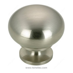 "Classic Solid Brass Knob - 3923 - 3923175 - Finish Brushed Nickel Screw/Nail 0.25"" Pulls and Knobs Style Classic Diameter 1.25"" Material Solid Brass Projection - Overall Dimensions 1.188"" Packaging format Per unit"