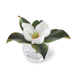 Winward Designs - Mini Magnolia White Flower Arrangement - This miniature arrangement features timeless magnolias. The arrangements in this collection prove that good things come in small packages. They go perfectly on bathroom sinks, guest bedroom nightstands and bookshelves.