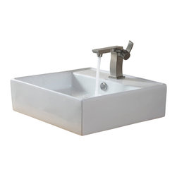 Kraus - Kraus White Square Ceramic Sink and Sonus Basin Faucet Brushed Nickel - *Add a touch of elegance to your bathroom with a ceramic sink combo from Kraus