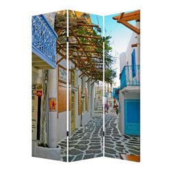 Greece Screen - Enjoy a Grecian getaway without leaving the house. This three-panel, double-sided screen lets you create a sense of intimacy in any open area, and it's made of lightweight canvas to reposition with ease.