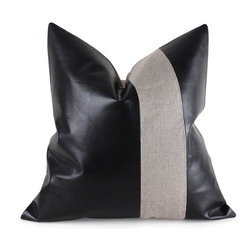 """Pfeifer Studio - Linen and Leather Pillow, 16"""" x 16"""" - This sophisticated pillow marries hard lines and soft fabric beautifully. The bands of leather and linen complement one another perfectly. You could pair this with similar geometric patterns or even florals for a super modern seating area."""