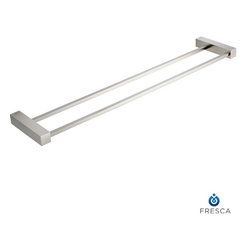 """Fresca - Fresca Ottimo Double Bathroom Towel Bar 22"""" - Brushed Nickel - All our bathroom accessories are imported and are selected for their modern, cutting edge designs. All accessories are made with brass with a quadruple brushed nickel finish. All our accessories have been chosen to complement our other line of products including our vanities, steam showers, whirlpools, and toilets."""