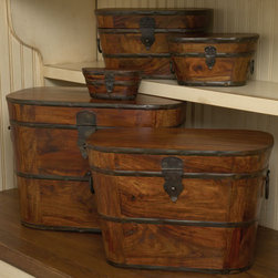 Wood & Iron Boxes - The only thing better than having lots of great storage is having storage that's as beautiful as it is functional.  These wood and iron boxes are rich and warm in details.  Fill them with anything you like keeping close at hand.