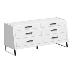 White Line Imports - Bahamas High Gloss White Dresser - Organization and storage can be more convenient and stylish with Bahamas bedroom collection! This Dresser offers both stylish looks and spacious storage space. The dresser has unique design, highlighted with High Gloss White finish and stainless steel legs.