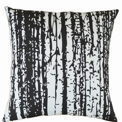 Plumed - Birch Forest Pillow Cover - Our Birch Forest pillow cover is a textile fabric designed by Plumed as a part of our Modern Graphics line, where you can mix and match our exclusive monochromatic designs and our generations line. The textile was hand-drawn and then professionally printed on a lovely linen-cotton blend fabric; you won't find this design anywhere else. Black linen backing. Invisible zipper. Designed by Christine Dinsmore.