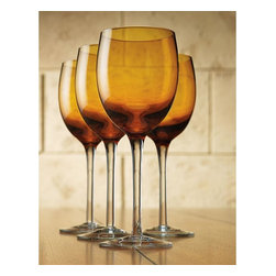Home Essentials - Tuscana Set of 4 Amber White Wine Goblets - These elegant amber white wine goblets will make quite an impression at your next dinner party, thanks to its warm blue color, clean look, and graceful contours making it the right choice for formal occasions or everyday use. * 12 oz * Dishwasher Safe * Set of 4 * Gift Boxed