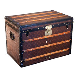 Louis Vuitton Steamer Trunk circa 1910 - Authentic 1910 Louis Vuitton trunk, featuring a hand-stitched monogram pattern. Wear commensurate with age, but adds character.