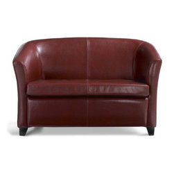 """Grandin Road - Cordoba Leather Love Seat - Custom-dyed, textured leather expertly sewn over a solid hardwood frame. Imported. """"The colorful leathers of Cordoba add sophistication without getting too serious. And the tidy proportions are up to any design challenge. The only thing better? The price."""" — GRANDIN ROAD EDITORS Our Cordoba Love Seat provides all the comfort of large-scale furniture in a smaller, more space-efficient design. Classic design, leather upholstery, and plush cushioning, sized perfectly to fit nearly any space.. ."""