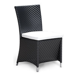 Westminster Teak Furniture - Valencia Woven All Weather Wicker Parsons Chair - Part of the Valencia Collection, this dining armchair is truly an indoor-outdoor furniture with style and functionality. Made of durable extruded polyethylene on powder coated high performance aluminum frame with stainless steel detainling. The furniture is lightweight yet sturdy enough to withstand the rigors of everyday use and the extremities of outdoor weather including temperature fluctuations , UV exposure from sunlight, mold, and mildew. The fibers used have been specifically engineered to replicate not only the look and feel of natural rattan and wicker but its robust characteristics makes for easy care.  Built to commercial specifications.