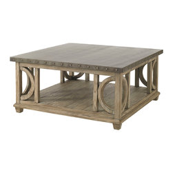 Lexington - Lexington Twilight Bay Wyatt Cocktail Table 352-955 - Updated casual is evidenced in the hammered stainless steel top with pewter nailhead trim on the edge. The weathered, soft taupe-gray finish on the base is equally interesting marrying curves and lines as design elements.