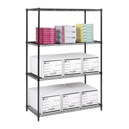 Safco - 24 in. Industrial Wire Shelving Starter Unit in Black - Two feet deep, this shelving unit fits against a wall and won't take up too much space while still providing you with stable and durable shelving. Open wire shelves are height adjustable for customization while the black powder coat finish resists corrosion. Three open wire shelves. Four posts. Snap-together clips. Prevents dust accumulation. Powder coated finish. Material Thickness: 10 ga. (shelf surface), 3 ga. (frame), 16 ga. (post), 6 ga. (wave pattern). Shelf adjusts in 1 in. increments. 800 lbs. evenly distributed shelf carrying capacity. 2500 lbs. evenly distributed overall carrying capacity. GREENGUARD Certified. Made from steel. Available in additional finish. 48 in. W x 24 in. D x 72 in. H (72 lbs.). Assembly InstructionGet wired! With Wire Shelving you're sure to get the storage space you need. These shelves are designed to get your office organized and keep it that way. Easily store office supplies, break room supplies, paper, marketing materials and other supplies so they are easy to find and incur no damage. Great for your supply room, storage area, mail room, warehouse, storage closet, garage area or even a classroom, assembly area or production area. Get storage where you need it, and always be able to find what you're looking for!