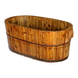 Antique Revival - Natural Vintage Han Li Bucket Sink - Add an authentic vintage touch to your kitchen, patio, laundry room or bathroom with this deep, old-fashioned wooden Han Li bath sink. Traditionally it was used by families and communities for washing clothes, bathing or preparing food. The sink features a natural wood finish and iron banding around the perimeter. Each item is unique and one-of-a-kind and dimensions/features may slightly vary.