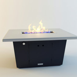 "COOKE - Palisades Rectangular fire pit table - This Fire Pit table is made in the USA with an all aluminum construction making it very durable and a great value. The aluminum top is formed with welded corners from 3/16"" thick 5052 aluminum plate and is VERY durable even in commercial use, no tiles that fall off or cheap glue to crack. This propane model comes with a door for hiding the tank under the table, not like other propane fire pits that do not hide the propane tank. Made by us in California with precision CNC bending and laser cutting technology for impeccable quality and style. The Palisades So Cal fire pit table is perfect for heating up the evening on your patio or outdoor living area. Custom colors are available for a $500 fee, so if you need it fire engine red or any other color of the rainbow we can do it!"