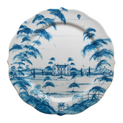 Country Estate Delft Blue Charger - The complex romance of the Country Estate design is beautifully depicted on this collection's Delft Blue Charger. The attractive porcelain piece frames your dinner plates with a scalloped edge on which gracefully-pruned branches and a distant hot-air balloon can be seen in the dainty painted strokes. In the center, a Georgian manor ties together heartwarming formal motifs.