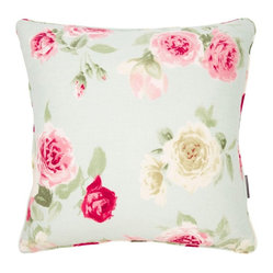 Summer Bloom Pillow, Blue - Two of these pillows would be perfect for adding some girlie glam to some plain white bedding.