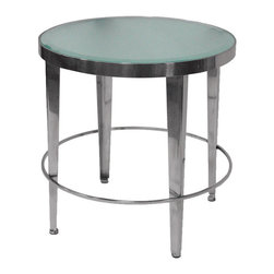 Allan Copley Designs - Allan Copley Designs Sarah Round End Table with Frosted Glass Top - The Sarah Collection by Allan Copley designs is beautifully styled to enhance the personality and intrigue of any room's decor with its provocative design. The collection is crafted to exacting specifications with its Polished chrome plated base and loop accented by the frosted glass tops to inspire elegance and style in your home and life. The Sarah Collection includes Round Cocktail, Round End Table and Half Moon Console Table.