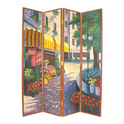 Wayborn - Wayborn Hand Painted Floral Street Scene Room Divider - Wayborn - Room Dividers - 2262 - Wayborn hand painted screens start with a cedar plywood frame covered in a cheesecloth material. Then layer after layer of plaster is applied; each layer must dry before another layer can be applied. After all the plaster has been applied several coats of lacquer is put over the entire surface. At that time the artist begins to sketch out the painting directly on the panels of the screen and begins painting the design with water based paint.  Each one of these screens has its own characteristics and is truly a work of art.