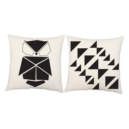 RoomCraft - RoomCraft 2pc Origami Pillow Covers/Cushion Set, White, 16x16 Inches, Origami Ow - FEATURES: