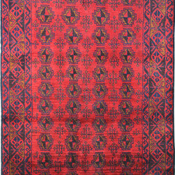 """ALRUG - Handmade Brick/Red Oriental Tribal Baluchi Rug 3' 4"""" x 5' 9"""" (ft) - This Afghan Baluchi design rug is hand-knotted with Wool on Wool."""