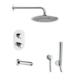 Remer - Polished Chrome Thermostatic Tub and Shower Faucet with Handheld Shower - Thermostatic diverter.