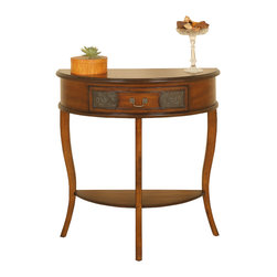 Welcome Home Accents - Half Round Walnut Console Table - Walnut finish half round console table features bottom shelf and retro tin panel design. Ships KD. Wipe with a dry cloth. Made in China.