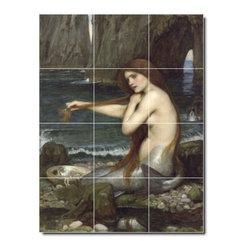 Picture-Tiles, LLC - A Mermaid Tile Mural By John Waterhouse - * MURAL SIZE: 24x18 inch tile mural using (12) 6x6 ceramic tiles-satin finish.