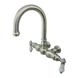 "Kingston Brass - Wall Mount Clawfoot Tub Filler - This clawfoot tub filler is constructed of high quality brass to ensure reliability and durability. Its premier finish resists tarnishing and corrosion. All mounting hardware is included and standard US plumbing connections are used.; 6-1/2"" spout reach; Tub wall mount with 3-3/8"" centers; 1/4-turn ceramic disk cartridge; Fine artistic craftsmanship; Standard US plumbing connections; Material: Brass; Finish: Satin Nickel Finish; Collection: Vintage"