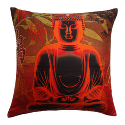 Vintage Maya - Bliss Silk Embroidered Pillow Cover - Take relaxation to a whole new level with this sumptuous silk pillow cover. Featuring an  image of a meditating Buddha, this incredibly soft pillow cover might just help you reach nirvana.