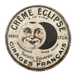 Used French Creme Eclipse Retail Display Tin - Large vintage French retail store display tin for Eclipse wax and polish. Removable lid and hanging chain. Vintage found condition. Would look adorable hanging on a door as a replacement for a wreath!