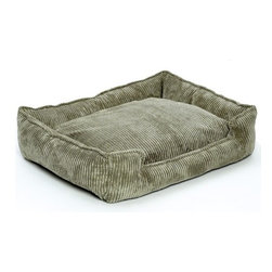 """Jax and Bones - Corduroy Lounge Dog Bed in Olive - Features: -Dog bed. -Corduroy fabric made from a washable blend of cotton and polyester. -Clean and contemporary complement to any room. -Sustainafill allergy-free eco-friendly fiber filling. -Hides shedding hair. -Gets softer and better over time. -Removable and machine washable cover. -Proudly made in the USA. -Olive fabric. -Available in four sizes. Specifications: -Small dimensions: 7"""" H x 18"""" W x 24"""" D. -Medium dimensions: 10"""" H x 27"""" W x 32"""" D. -Medium / large dimensions: 10"""" H x 32"""" W x 39"""" D. -Large dimensions: 12"""" H x 40"""" W x 48"""" D."""