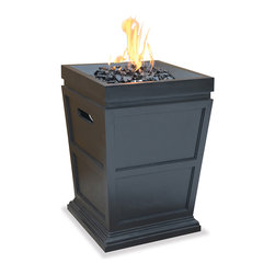 Blue Rhino - Blue Rhino LP Gas Powered Column Firepit - Enjoy chatting with friends and family at night in front of a fire with this stylish gas firepit from Blue Rhino. It features a hidden control panel with an electric ignition, which makes it easy to light the fire, and it works using an LP gas tank.