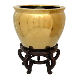 "Oriental Furniture - 12"" Solid Gold Porcelain Fishbowl - Beautiful porcelain fishbowl finished in a high gloss gold glaze. Crafted using high temperature fired, durable Chinese porcelain. Traditionally used as homes for koi and goldfish, fishbowls are now commonly use as indoor planters or decorative accents. Simple design and color add a bold style to traditional and modern decors."