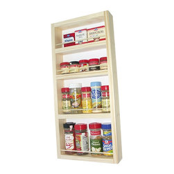 None - WG Wood Products Unfinished Solid Wood Surface Mounted Kitchen Spice Rack - Keep all of your favorite spices in easy reach with this versatile kitchen spice rack. This wooden rack is made from pine, and can be stained to match your existing kitchen decor. The rack has several sizes of shelves for various sizes of containers.