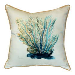 Betsy Drake - Betsy Drake Blue Coral Pillow- Indoor/Outdoor - Blue Coral Pillow- Large indoor/outdoor pillow. These versatile pillows are equal at enhancing your homes seaside decor and adding coastal charm to an outdoor setting arrangment. They feature printed outdoor, fade resistant fabric for years of wear and enjoyment. Solid back, polyfill. Proudly made in the USA.