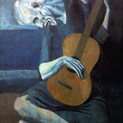 Keep Calm Collection - The Old Guitarist by Pablo Picasso, premium wall decal - This premium wall decal sticks to virtually any surface and can be removed and repositioned 100 times or more, without leaving any residue or removing paint from walls. The decal is made from a fabric material with self adhesive backing for easy peel and stick installation. This wall decal includes a 1 inch white border. Recommended for indoor use only. Installation instructions included. Printed in the USA, using archival pigment based inks.