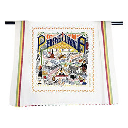 CATSTUDIO - Pennsylvania State Dish Towel by Catstudio - The Keystone state. This original design celebrates the state of Pennsylvania.  This design is silk screened, then framed with a hand embroidered border on a 100% cotton dish towel/ hand towel/ guest towel/ bar towel. Three stripes down both sides and hand dyed rick-rack at the top and bottom add a charming vintage touch. Delightfully presented in a reusable organdy pouch. Machine wash and dry.