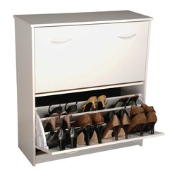 Venture Horizon - Double Shoe Chest - White - Stackable Shoe Cabinets...Organizes & Protects Your Investment. Just think about how much money we spend on just one pair of shoes. It adds up. Before you know it there are thousands of dollars worth of shoes cluttering up the floor of the closet. Our good looking, practical cabinets will accommodate the largest shoe collections. Getting them off the floor. Neatly organized in their own space. Keeping them clean and protected. Also eases the selection process each and every morning. The Single units are stackable. The Single unit measures 18in. high x 30in. wide x 11 1/2in. deep. The Double unit measures 34in. high x 30in. wide x 11 1/2in. deep. The Tripleunit measures 48in. high x 30in. wide x 11 1/2in. deep.Constructed from durable melamine laminated particle board these cabinets are 30in. wide and 11 1/2 deep. Stain resistant and easy to clean. Available in Oak, Cherry, White, Black. Assembly required. Made in the USA.
