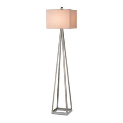 Bel Mondo Floor Lamp - It calls to mind a certain minimalist style that captivates with cool and abandons tradition. The allure of mid-century modern is brilliantly illuminated in the Belmondo Floor Lamp. Paired with an Eggshell Linen shade and matching finial, the lamp lends paired-downs splendor to a great room, eclectic library, reading nook, or media room.