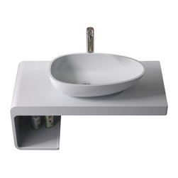 ADM - ADM Solid Surface Stone Resin Counter Top Sink, Matte - CW-108