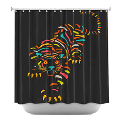 DiaNoche Designs - Shower Curtain Artistic - Tiger Brown - DiaNoche Designs works with artists from around the world to bring unique, artistic products to decorate all aspects of your home.  Our designer Shower Curtains will be the talk of every guest to visit your bathroom!  Our Shower Curtains have Sewn reinforced holes for curtain rings, Shower Curtain Rings Not Included.  Dye Sublimation printing adheres the ink to the material for long life and durability. Machine Wash upon arrival for maximum softness. Made in USA.  Shower Curtain Rings Not Included.
