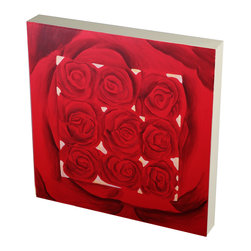 Brandi Renee Designs - Hand-Painted Rose Artwork - This cute single large red rose in the background with nine small red roses hand painted on a square wall piece is perfect alone or with its companions or sculptural red roses in a wall grouping.
