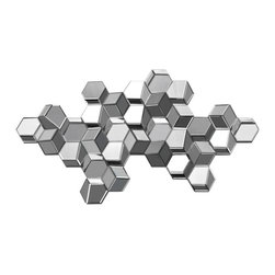 """mirrors - Add depth and design to your wall with the Manhattan 3D cube wall sculpture featuring mirrored cubes in a pixel design.  48"""" x 25"""""""