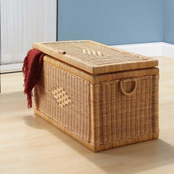 """28"""" Diamond Design Natural Rectangular Rattan Storage Trunk - Stylishly conceal blankets and other home accessories with the 28"""" Diamond Design Natural Rectangular Rattan Storage Trunk. The chest allows you to store extra items and it provides handles for easy moving."""