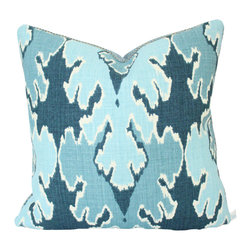 The Pillow Studio - Blue Bengal Bazaar Designer Pillow Cover - I love how the monochromatic colors on this pillow make the huge ikat design stand out.
