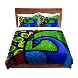 DiaNoche Designs - Duvet Cover Twill - Peacock - Lightweight and super soft brushed twill Duvet Cover sizes Twin, Queen, King.  This duvet is designed to wash upon arrival for maximum softness.   Each duvet starts by looming the fabric and cutting to the size ordered.  The Image is printed and your Duvet Cover is meticulously sewn together with ties in each corner and a concealed zip closure.  All in the USA!!  Poly top with a Cotton Poly underside.  Dye Sublimation printing permanently adheres the ink to the material for long life and durability. Printed top, cream colored bottom, Machine Washable, Product may vary slightly from image.